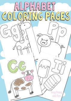 Free Printable Alphabet Coloring Pages - Preschool/Kindergarten Homeschool Preschool Letters, Preschool Printables, Learning Letters, Preschool Classroom, Preschool Learning, Kids Learning, Free Alphabet Printables, Preschool Themes, Coloring Pages For Toddlers Printables