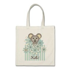 Cute Animal Personalized Message Pastel Striped Tote Bags - Pretty Baby Koala Design - Kids Library Book Bag or Baby Shower Favors for Boys