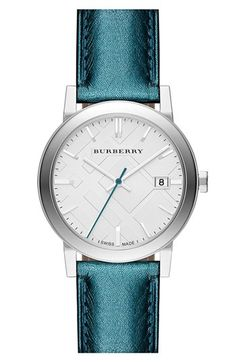 Love the blue metallic leather strap! Never would have thought it was Burberry...  #Something Blue