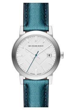Burberry Round Metallic Leather Strap Watch @Nordstrom