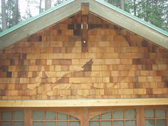 Howling Wolf Shingle Art Project by Fine Line Joinery provider of custom cabinetry, architectural woodwork, fine carpentry and general contracting services, with a focus on sustainable methods and materials. Cedar Shake Shingles, Cedar Shingle Siding, Cedar Shakes, Building Concept, Exterior Makeover, House Paint Exterior, Western Red Cedar, House Painting, Cladding