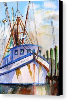Shrimp Fishing Boat Canvas Print by Carlin Blahnik.  All canvas prints are professionally printed, assembled, and shipped within 3 - 4 business days and delivered ready-to-hang on your wall. Choose from multiple print sizes, border colors, and canvas materials.