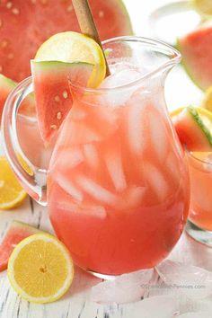 Watermelon Lemonade - Spend With Pennies - Lunch Recipes Watermelon Soup, Watermelon Lemonade, Refreshing Drinks, Summer Drinks, Easy Homemade Soups, Homemade Strawberry Lemonade, Lemon Uses, Make Simple Syrup, Asparagus