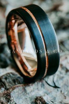 Halcyon Rose | Men's Black & Rose Gold Wedding Band | Men's Ring| Tungsten | ❤ this mens wedding ring