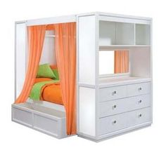 Ok, for $3K there has to be a DIY version using a simple bed frame and a bookcase or dresser set.