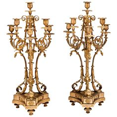 Late 19th C. Napoleon III Bronze Candelabras After Alfred Beurdeley