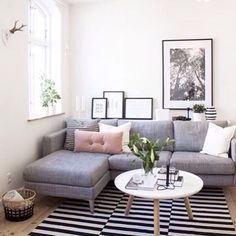 IKEA Karlstad grey sofa (also comes in tufted?) may be small enough to fit two in our living room w/o dominating it.