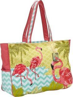Sun N Sand island pink flamingo with blue chevron beach #purse. #fashion $39