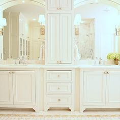 design envy: maria e. beck   bright and beautiful Nice set up for double sinks / mirrors with wonderful storage!