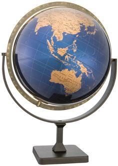 Replogle Tallinn Desktop World Globe - 12 Inch Diameter with Polished Metallic Blue and Gold Ball.