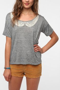 Pins and Needles Placed Crochet Collar Tee  #UrbanOutfitters