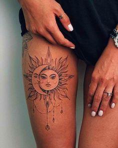 45 badass thigh tattoo ideas for women - artists - 45 badass thigh tattoo id. - 45 badass thigh tattoo ideas for women - artists - 45 badass thigh tattoo ideas for women - artists - - Hip Thigh Tattoos, Hip Tattoos Women, Sun Tattoos, Best Tattoos For Women, Back Tattoo Women, B Tattoo, Piercing Tattoo, Body Art Tattoos, Small Tattoos