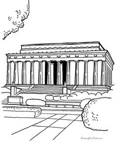 Historic Places - Lincoln Memorial coloring page