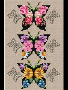 Floral and blackwork butterflies make a brilliant statement in color. Stitch the dramatic collage, an individual butterfly, or a bookmark (chart included). Cross Stitch Geometric, Butterfly Cross Stitch, Cross Stitch Bird, Cross Stitch Animals, Cross Stitch Flowers, Cross Stitch Designs, Cross Stitching, Cross Stitch Embroidery, Embroidery Patterns