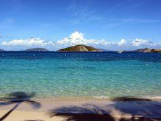 Dead Man's Beach, Peter Island, British Virgin Islands, facing the original Dead Man's Chest Island, from Robert Louis Stevenson's Treasure Island.
