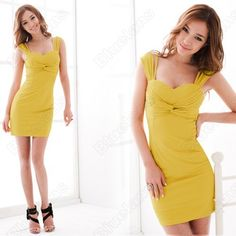Cute summer dress. Backless Mini Dress, Bodycon Dress, Sexy Summer Dresses, Dress Outfits, Sexy Women, Cocktails, Slim, Clothes For Women, Yellow