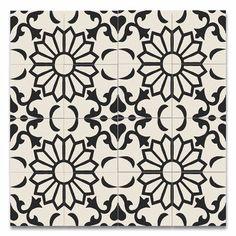 "Moroccan Mosaic Taj 8"" x 8"" Handmade Cement Tile in Black and…"