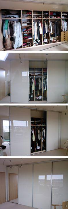 Aus alt mach neu. Beim alten Schrank wurden die Drehtüren entfernt und eine neue #Schiebetürenfront mit Glastüren vor das alte Innensystem montiert.