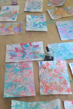 Have you ever tried marbling paper with shaving cream? We've done it in art…