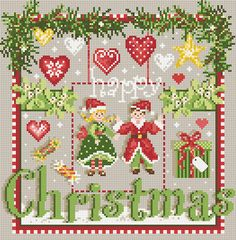 french cross stitch pattern charm : Happy Christmas Madame La Fee counted cross stitch pattern diy.