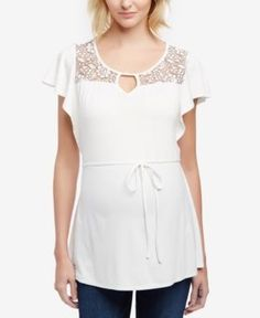 Motherhood Maternity Flutter-Sleeve Top - White XL