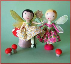 Little fairy clothespin dolls, one sitting down on a toadstool!  So dainty!