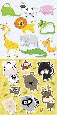 2 Sets of 17 vector cute animals stickers or labels templates with zoo and domestic animals - zebra, cats, parrot, elephant, dinosaur, giraffe, cow, pig, crocodile, lion, snake, antelope, bear, owl, raccoon, deer. Format: EPS or Ai stock vector clip…