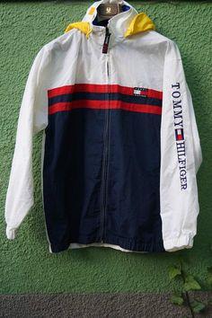 Vintage Tommy Hilfiger Rare Mens Jacket White Blue Size - L #TommyHilfiger