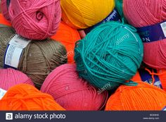 balls of wool colours knit knitting clothes hobby dye Stock Photo Knitted Hats, Balls, Winter Hats, Textiles, Colours, Sign, Stock Photos, Wool, Knitting