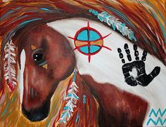 """Wild, wild horses,,couldn't drag me away..  11""""x14"""" Indian horse painting  Tara Richelle"""
