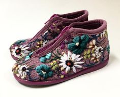 Cienta Lilac Velour Zip Slipper
