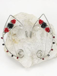 Black and Red Rose Elven Ear Cuffs - Handmade Elf or Fairy Wire Ear Cuffs