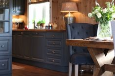 Love the flow on of colour and timber from the kitchen to the dining area Kitchen Arrangement, Cabin Kitchens, Cottage In The Woods, Dining Area, Kitchen Decor, Kitchen Cabinets, Cabin Fever, Interior Design, Flow