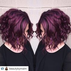 "Was ist die neue Trend-Haarfarbe ""Pagenta""? What is the new trend hair color ""Pagenta"" ? Plum Hair, Burgundy Hair, Curly Purple Hair, Brown Hair Purple Highlights, Pelo Color Vino, Hair Color And Cut, Pixie Hair Color, Hair Today, Fall Hair"