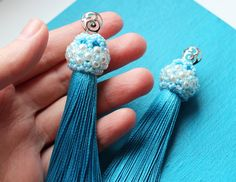 Your place to buy and sell all things handmade Blue Tassel Earrings, Tassel Jewelry, Fringe Earrings, Beaded Jewelry, Handmade Jewelry, Bold Rings, Agate Ring, Filigree Ring, Beaded Top