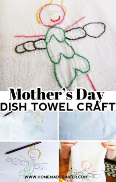 Make a Mother's Day dish towel craft by turning a child's drawing into an embroidered dish towel! Perfect for a Mother's Day gift or teacher gift!