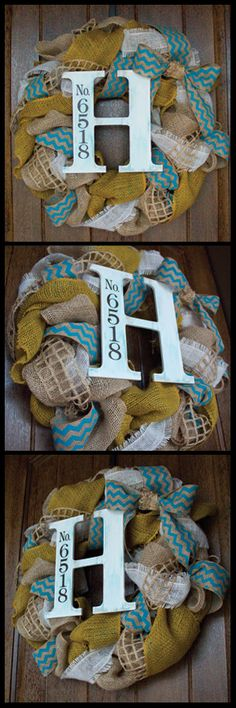 Burlap Wreath with Chevron pattern and Custom wooden letter with Vinyl lettering for address.
