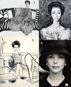 Gloria Guinness  1. Cecil Beaton photograph, 1970. 2. Alejo Vidal-Quadras painting, 1959. 3. Kenneth Paul Block drawing for WWD, 1962. Gloria is wearing Dior. 4. Henry Clarke photograph, 1960s.