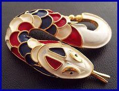 Vintage Snake Brooch Pin Red White Blue Enamel Gold Metal Patriotic Jewelry 2 VG via Etsy