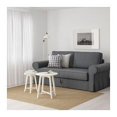 IKEA - BACKABRO, Two-seat sofa-bed, Nordvalla dark grey, , Pocket springs adjust to your body and keep your spine straight when you sleep.A firm mattress which gives you good support and can be used every night.Cover made of a durable cotton and polyester blend with a visible material structure.The storage space under the seat has room for bedlinen or other things.The cover is easy to keep clean as it is removable and can be machine washed.This sofa converts quickly and easily into a roomy…