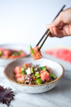 A refreshing and delicious recipe for Watermelon Shiso Salad- a great vegan substitute for ahi, in a Poke Bowl! | www.feastingathome.com
