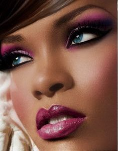 Rihanna Purple Lipstick | ... -up tip was inspired by a picture of Rihanna that I saw. Here it is