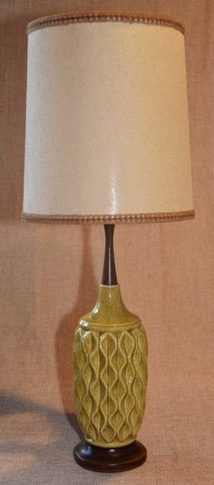 Delightful Pair Mid Century Vintage Shore Bird Relief, Ceramic Table Lamps, With W/  Gold Accents And Original Pleated Fabric Shade, (buy One Or Both). By Uglyu2026