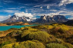 Torres del Paine National Park, Chile       Der Torres del Paine Nationalpark in Chile bietet bezaubernde Berglandschaften, Gletscher, Seen und Flüsse.