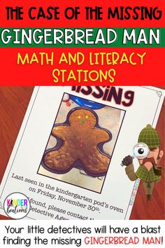 What's more fun than having than having your kids be detectives in your Pre-K, kindergarten, or 1st grade classroom? Having your early elementary detectives looking for the missing Gingerbread Man of course. Welcome to the Gingerbread Detective Agency! Your kids will be highly engaged as they solve the case of the missing Gingerbread Man as they move through math and literacy centers and activities. The stations include number puzzles, counting objects, CVC words and so much more. Check it out!