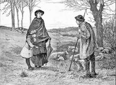 Image and text from the Dorset Magzaine:'An idealised view of the country shepherd in his smock, this image from the Illustrated London News in 1883 is simply entitled 'Springtime''  #smocks #sheep #illustration