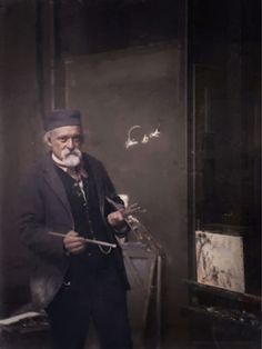"""Paul Cezanne in his Paris studio working on """"The Apotheosis of Delacroix"""", 1894. Colorized by painters-in-color"""
