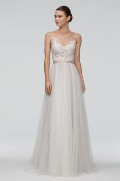 found at HAPPY BRAUTMODEN bridal gown wedding dress classy elegant romantic Watters Willow by Wtoo flowing skirt lace Vestidos Marchesa, Bridal Dresses, Wedding Gowns, Wedding Suite, Lace Wedding, Trendy Wedding, A Line Gown, Perfect Wedding Dress, Classy Dress