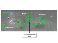 Map showing regions of Mars with clays and hydrated minerals