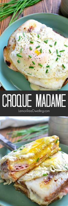 A Classic Croque Madame - made with sliced ham, swiss cheese, creamy béarnaise…